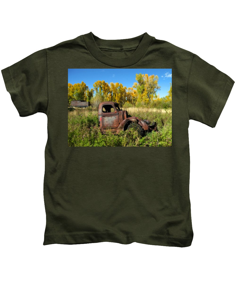 Truck Kids T-Shirt featuring the photograph The Old Truck Chama New Mexico by Kurt Van Wagner