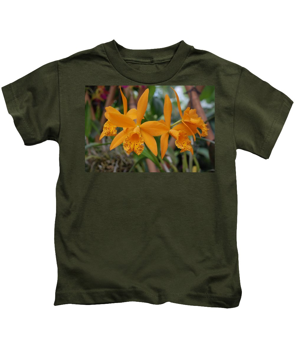 Macro Kids T-Shirt featuring the photograph The Orange Orchids by Rob Hans