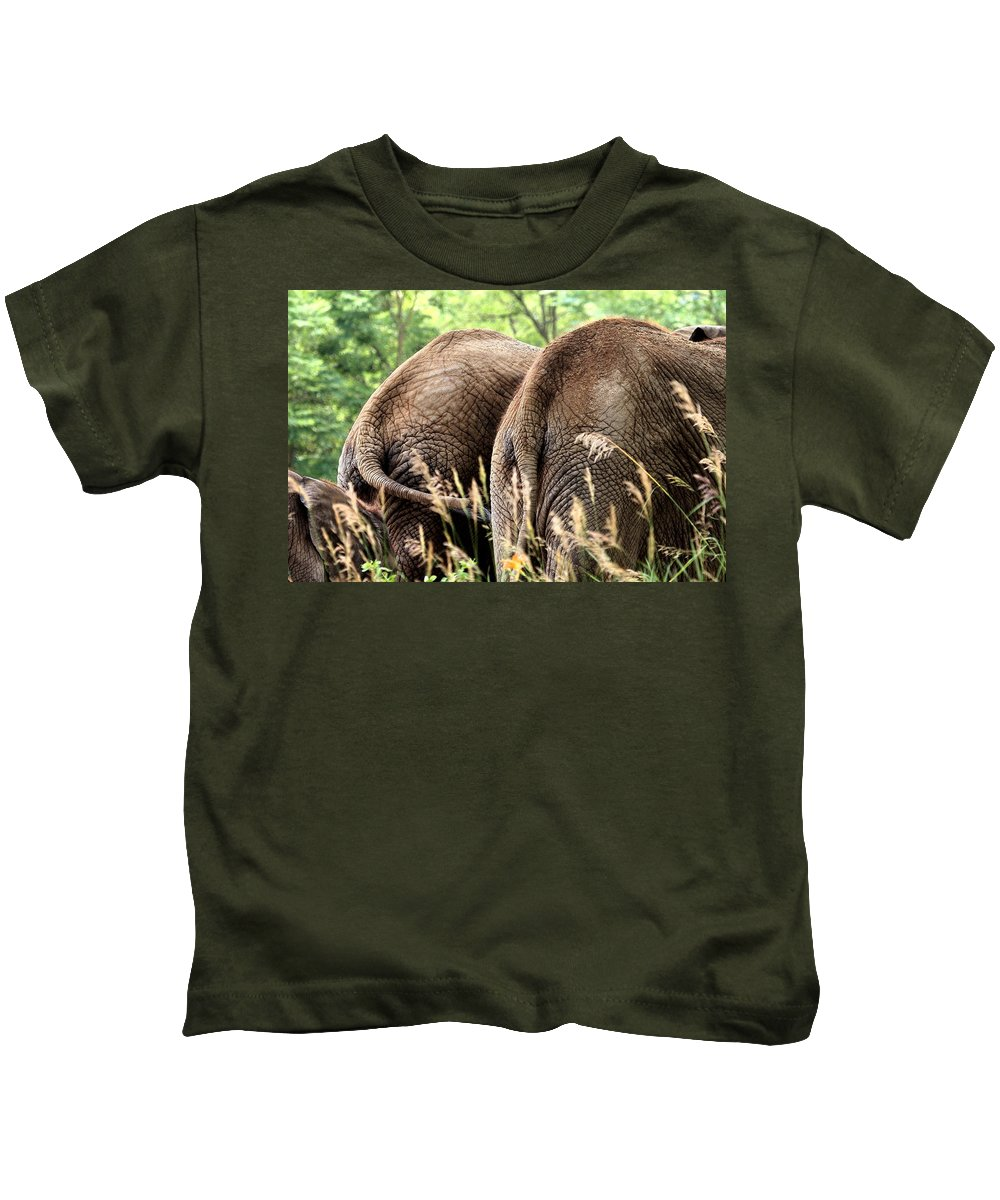 African Elephant Kids T-Shirt featuring the photograph The Other Side by Angela Rath