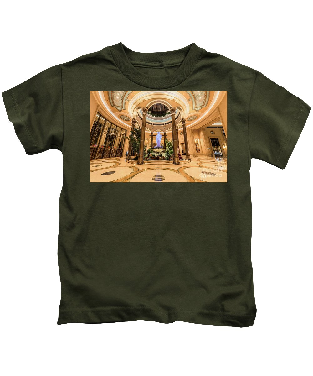 The Palazzo Casino Kids T-Shirt featuring the photograph The Palazzo Inside Main Entrance Very Wide by Aloha Art