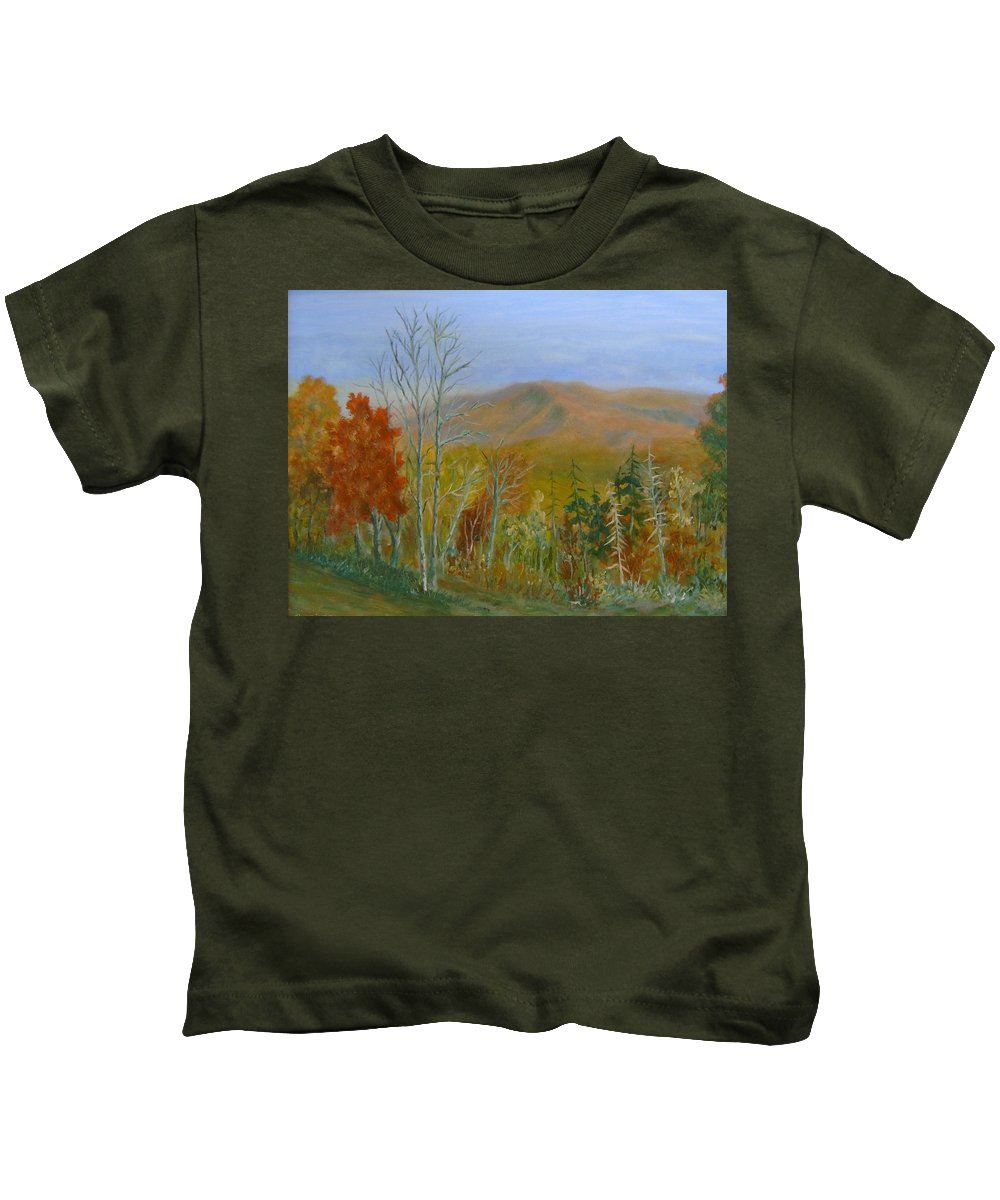 Mountains; Trees; Fall Colors Kids T-Shirt featuring the painting The Parkway View by Ben Kiger
