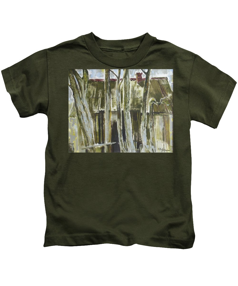 Oil Kids T-Shirt featuring the painting The Past Space by Sergey Ignatenko