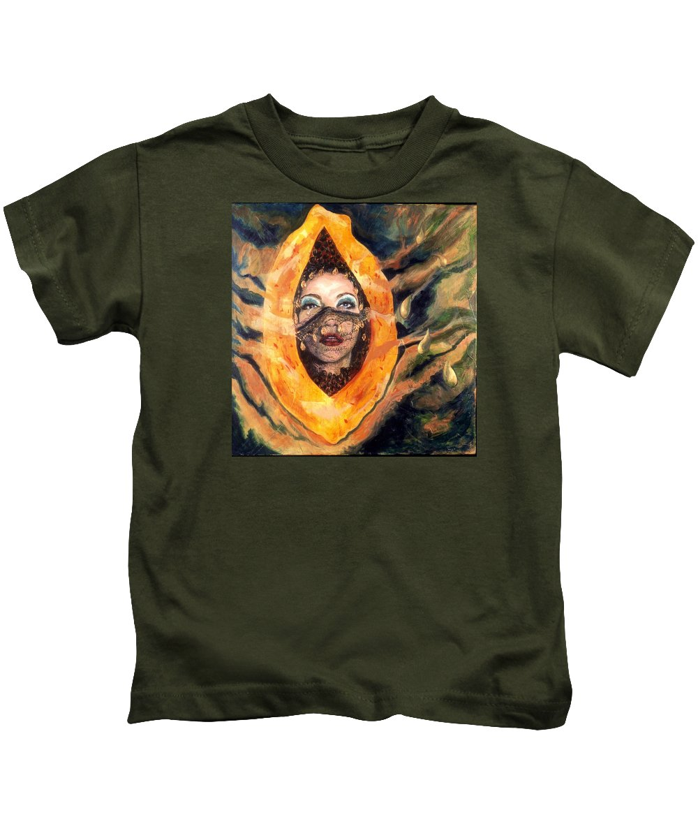 Woman Kids T-Shirt featuring the painting The Perfect Woman by Connie Freid