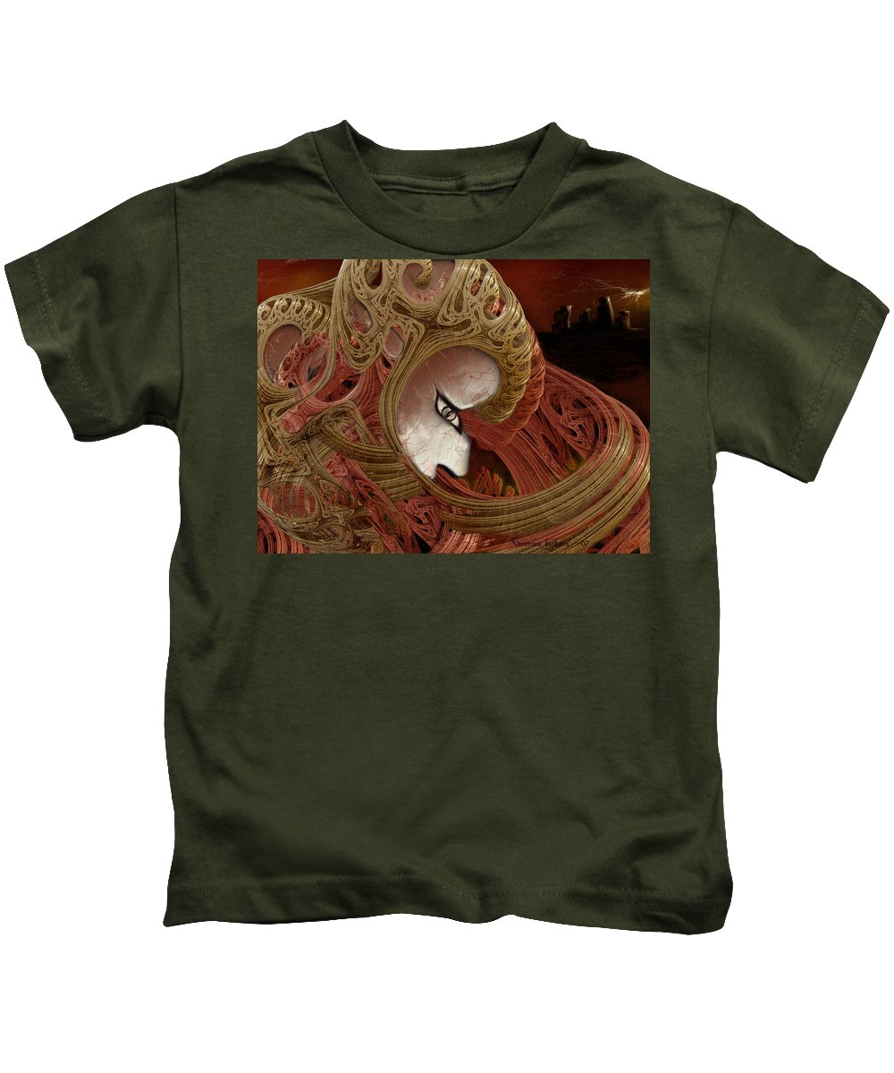 Warrior Darkness Loneliness Eyes Shield Kids T-Shirt featuring the digital art The Pilgrim by Veronica Jackson