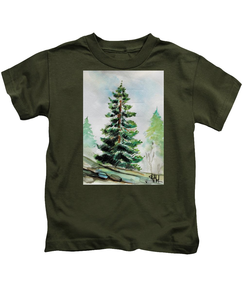 Pine Tree Green Hight White Artist Art Colour Paper Watercolour Kids T-Shirt featuring the painting The Pine by Ardit Dragjoshi