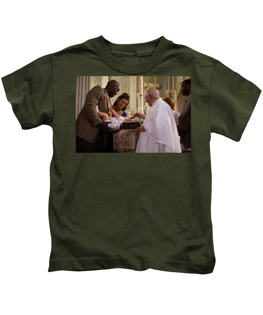 The Place Beyond The Pines Kids T-Shirt featuring the digital art The Place Beyond The Pines by Dorothy Binder