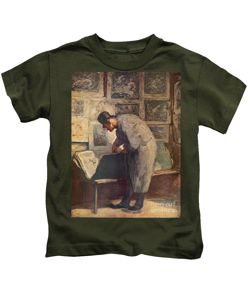 Honore Daumier Kids T-Shirt featuring the painting The Print Lover by MotionAge Designs