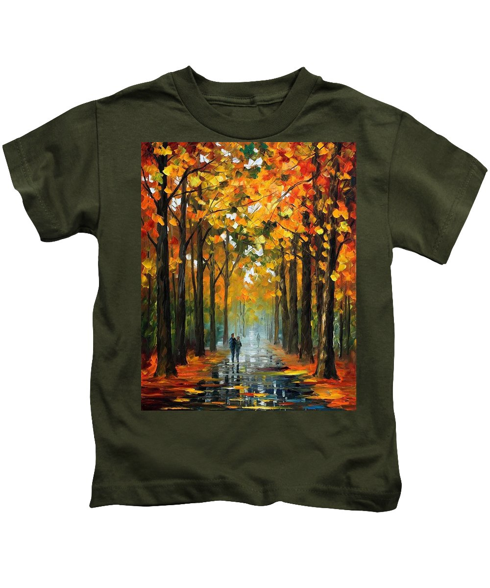Afremov Kids T-Shirt featuring the painting The Rain Is Gone by Leonid Afremov