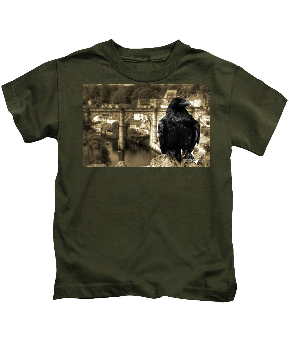 Raven Kids T-Shirt featuring the photograph The Raven Of Knareborough Castle by Rob Hawkins