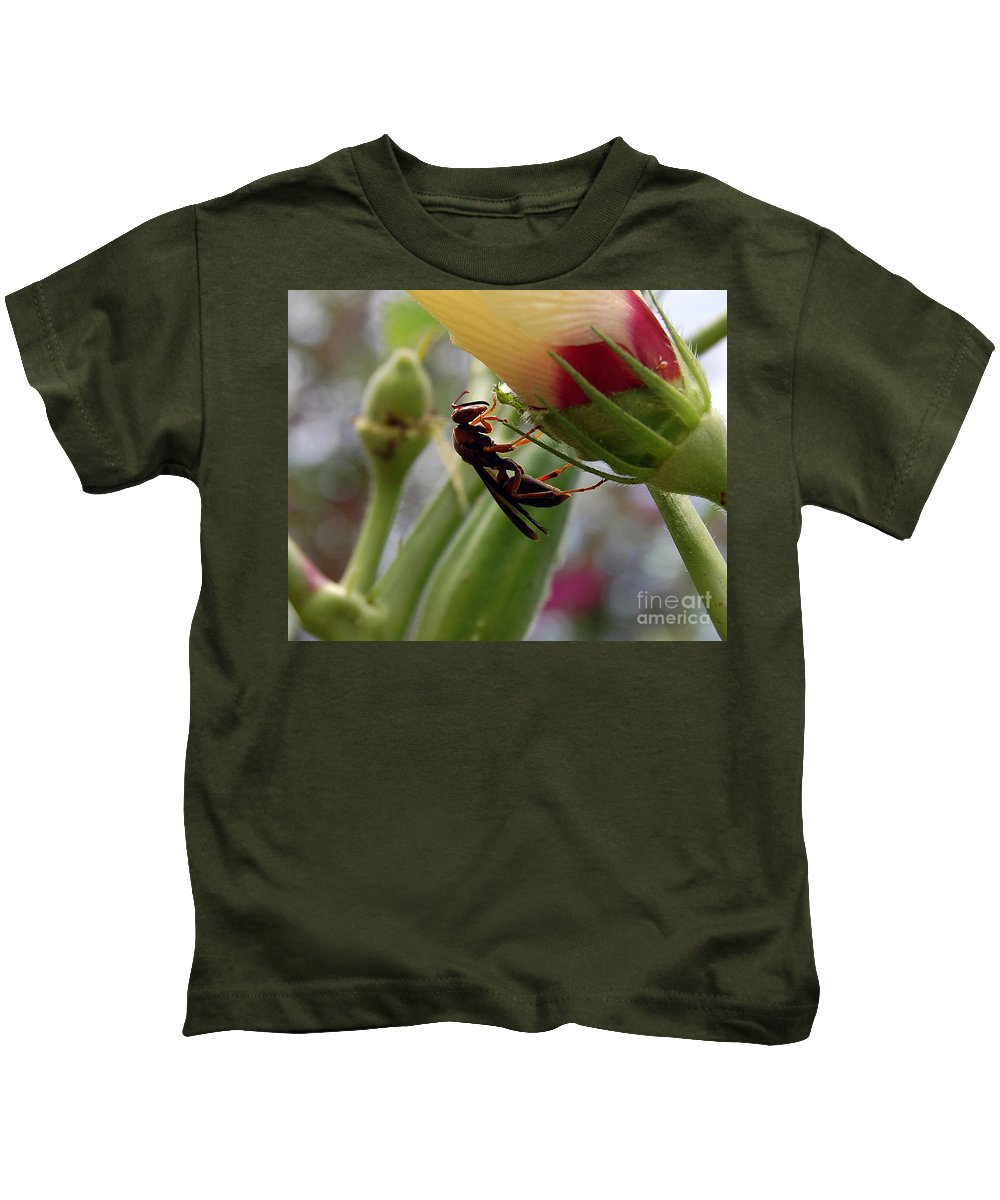 Red Wasp Kids T-Shirt featuring the photograph The Real Gardener 2 by Robert Meanor