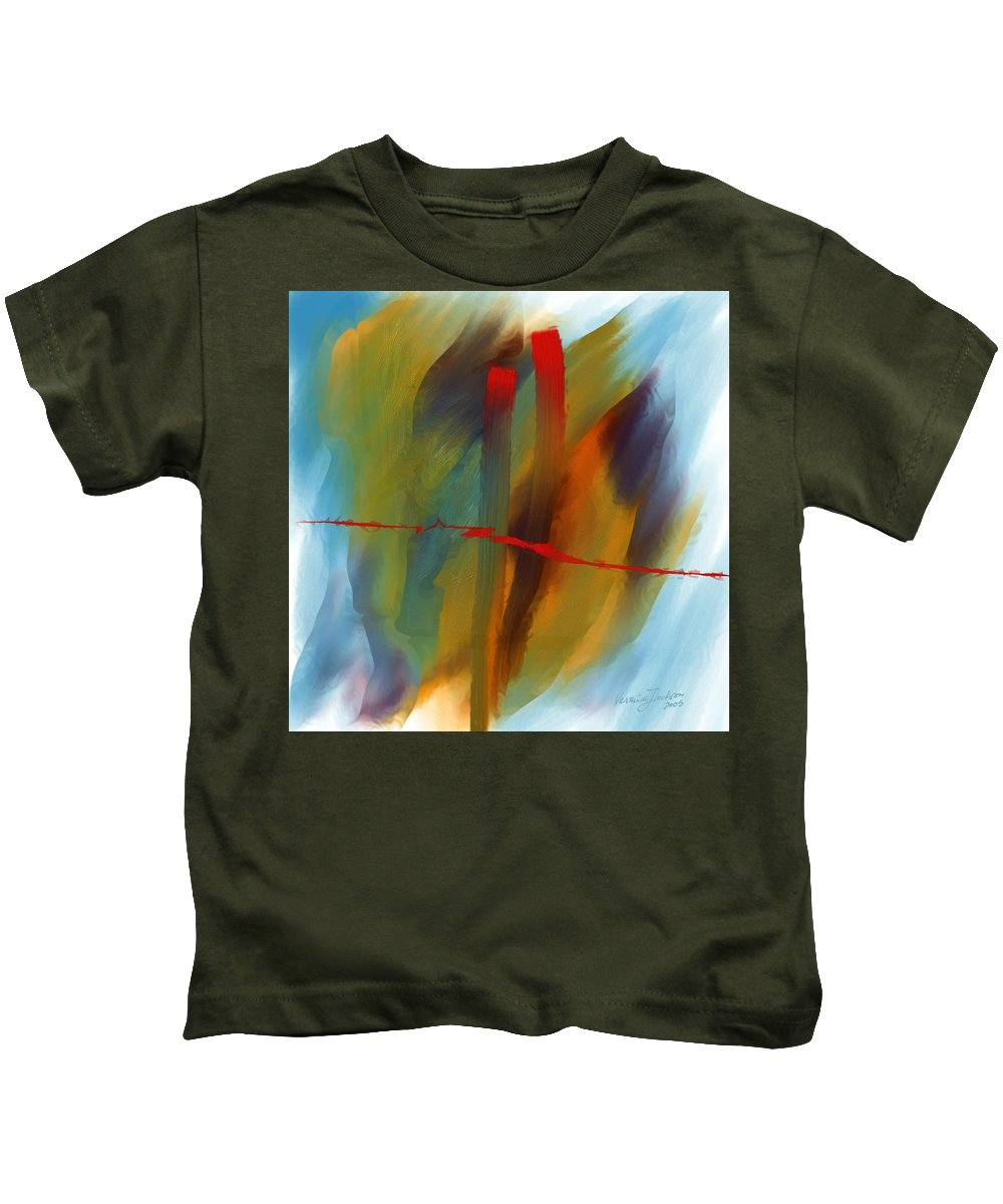 Red Abstract Lines Soft Moves Air Water Kids T-Shirt featuring the digital art The Red Line by Veronica Jackson