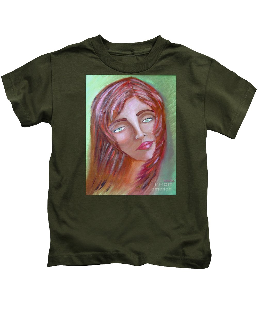 Redheads Kids T-Shirt featuring the painting The Redhead by Laurie Morgan