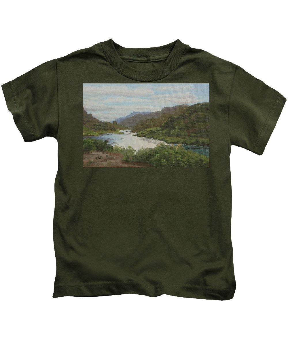 Landscape Kids T-Shirt featuring the painting The Rio Grande Between Taos And Santa Fe by Lea Novak