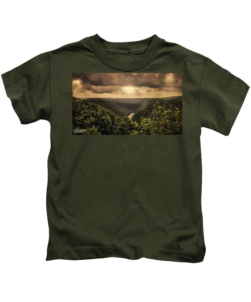 Chris Daugherty Kids T-Shirt featuring the photograph The River Below by Chris Daugherty