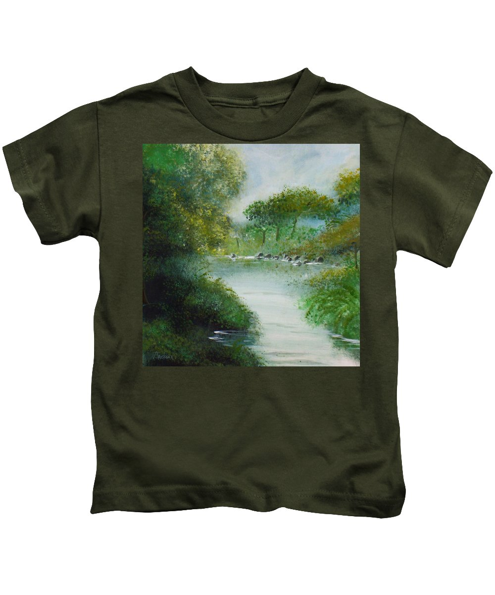 River Water Trees Clouds Leaves Nature Green Kids T-Shirt featuring the painting The River by Veronica Jackson