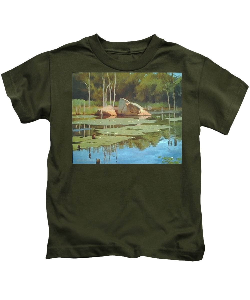 Landscape Kids T-Shirt featuring the painting The Rock by Dianne Panarelli Miller