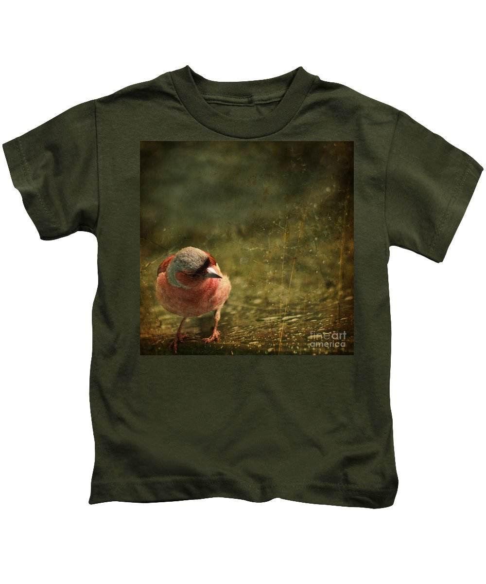 Chaffinch Kids T-Shirt featuring the photograph The Sad Chaffinch by Angel Ciesniarska