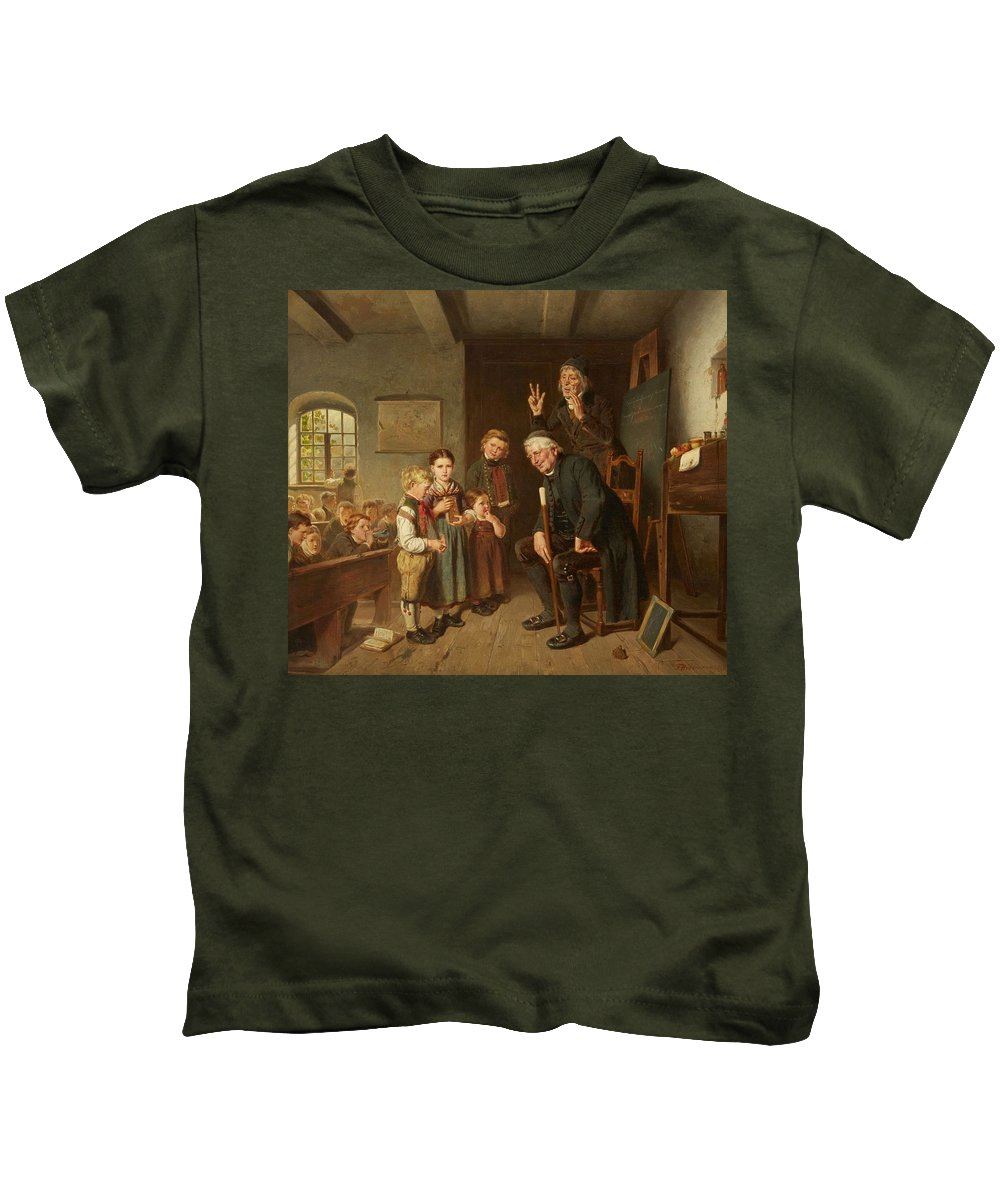 Friedrich Hiddemann Kids T-Shirt featuring the painting The School Inspector by Friedrich Hiddemann