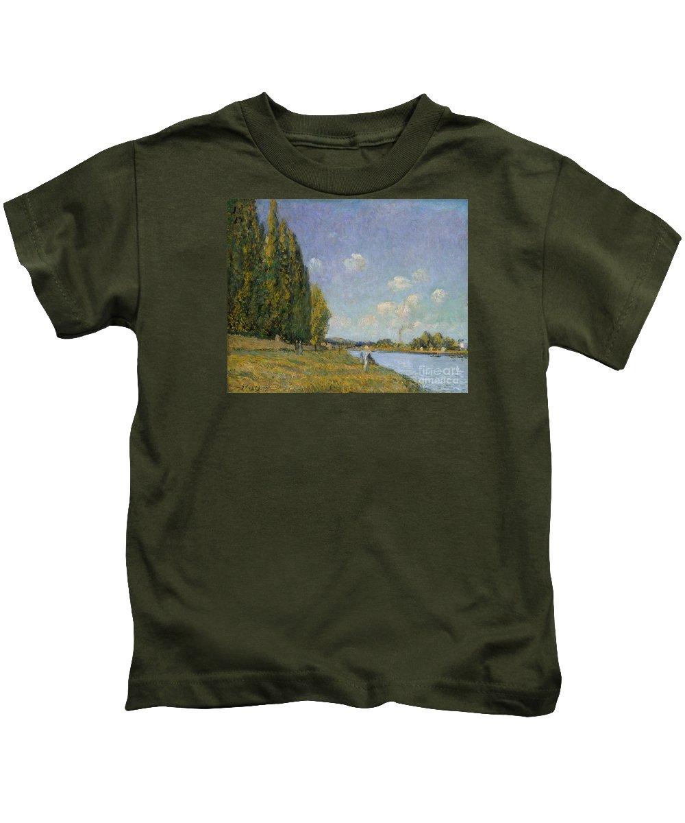 The Seine At Billancourt Kids T-Shirt featuring the painting The Seine At Billancourt by MotionAge Designs