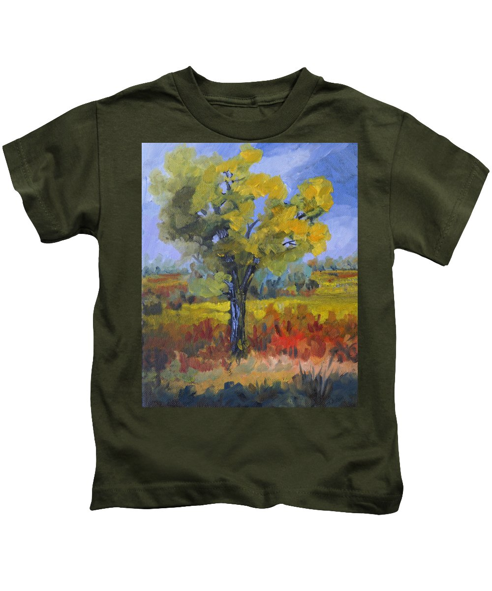 Spring Kids T-Shirt featuring the painting The Spring Tree by Heather Coen
