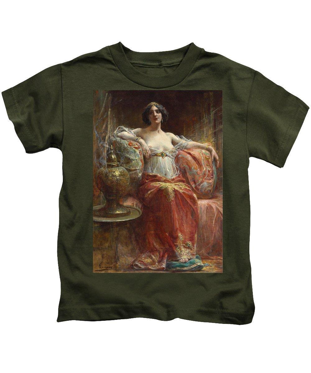 Henri Adrien Tanoux Kids T-Shirt featuring the painting The Sultan's Favourite by Henri Adrien Tanoux