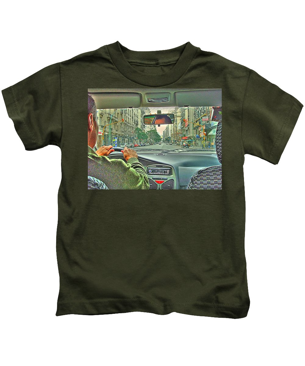 Taxi Kids T-Shirt featuring the photograph the Taxi Driver by Francisco Colon