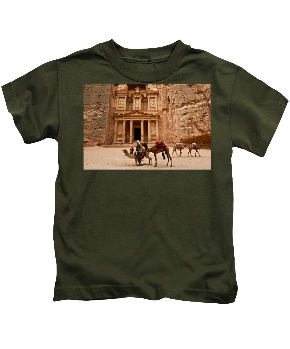 Middle East Kids T-Shirt featuring the photograph The Treasury Of Petra by Michele Burgess