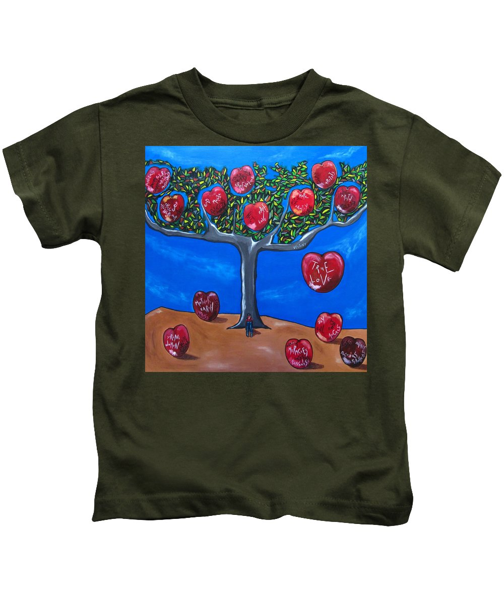 Design Kids T-Shirt featuring the painting The Tree Of Life by Sandra Marie Adams