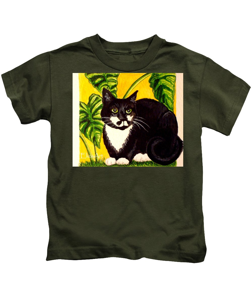 Watercolor Kids T-Shirt featuring the painting The Tropical Cat by Elizabeth Robinette Tyndall