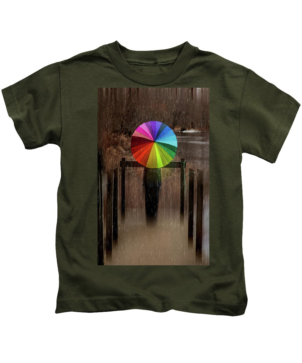 Colorful Umbrella Kids T-Shirt featuring the photograph The Umbrella by Lilia D