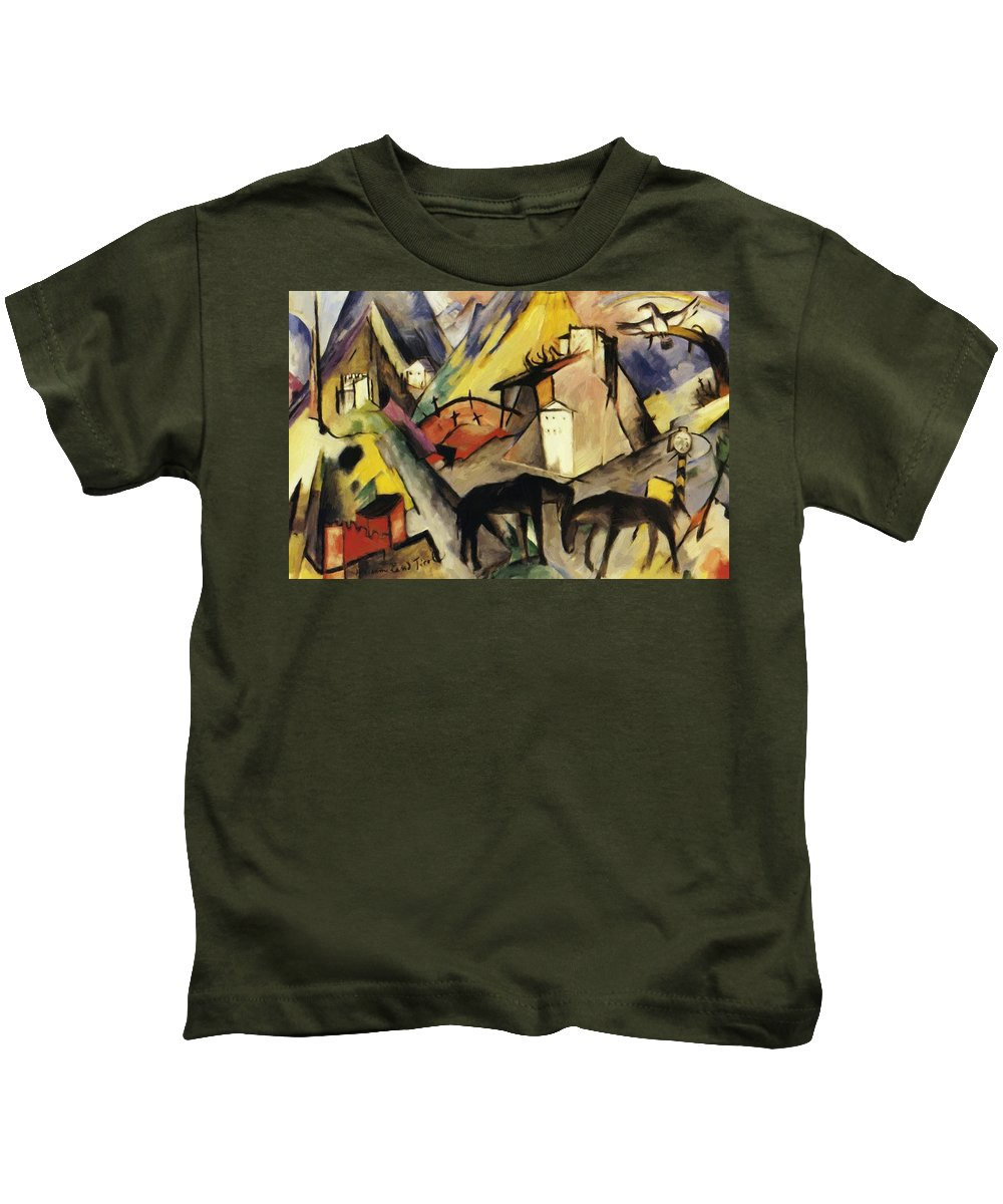 The Kids T-Shirt featuring the painting The Unfortunte Land Of Tyrol 1913 by Marc Franz