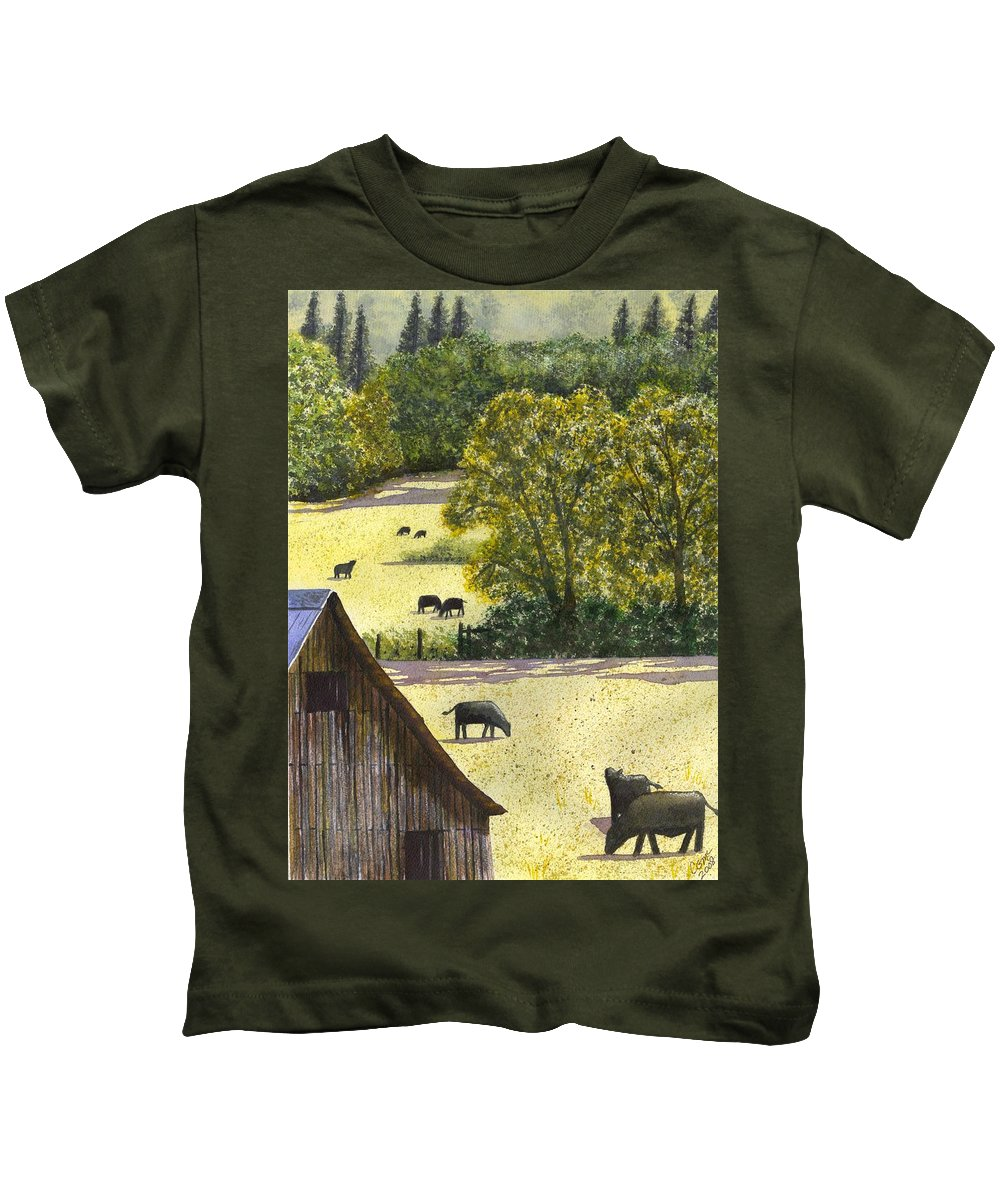 Landscape Kids T-Shirt featuring the painting The View From My Back Deck by Catherine G McElroy