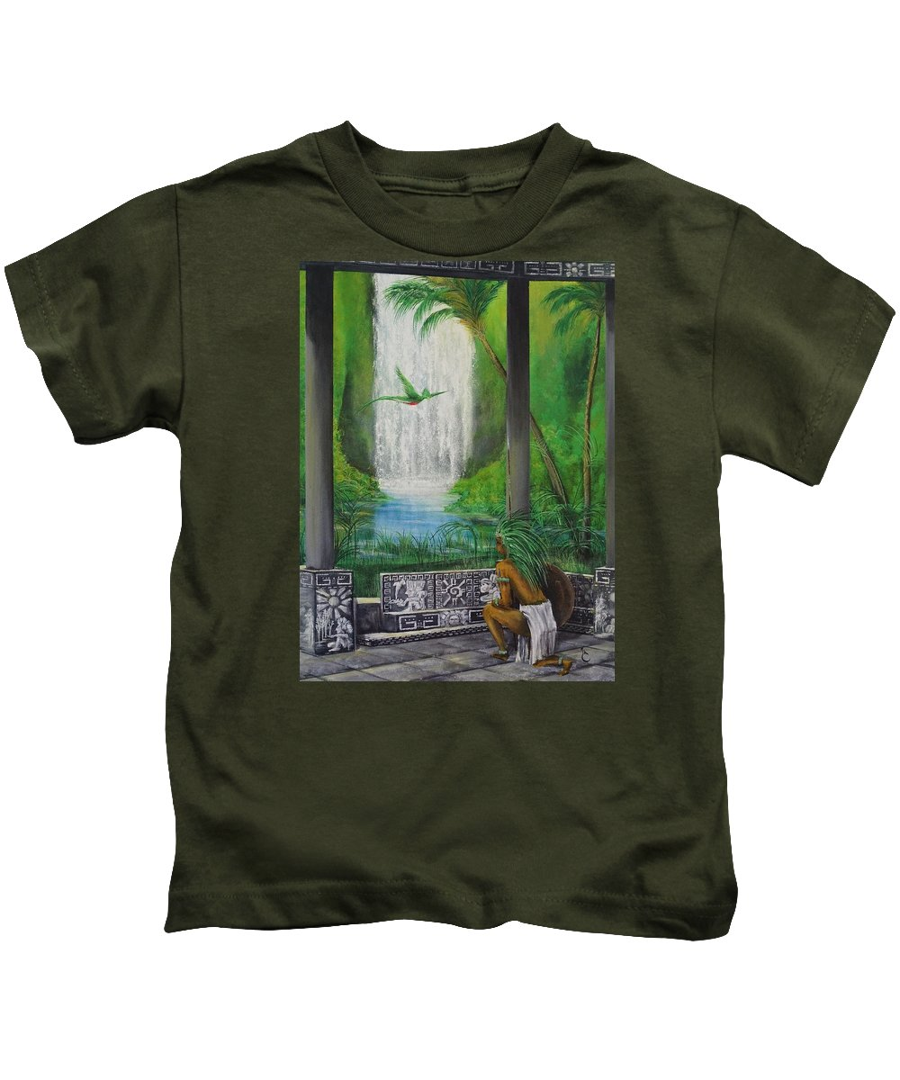 Land Kids T-Shirt featuring the painting The Warrior by Daniel Sanchez