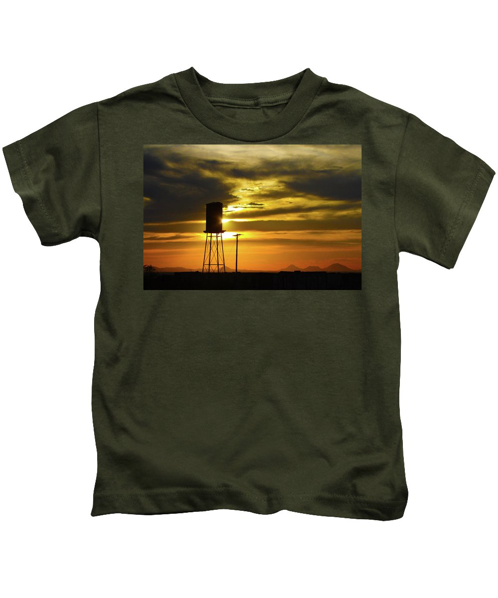 Water Tower Kids T-Shirt featuring the photograph The Water Tower by Marie Leslie
