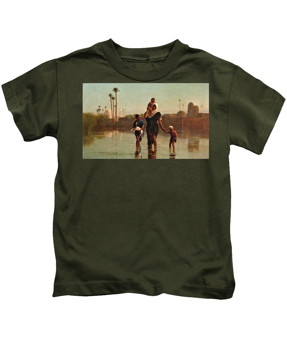 Frederick Goodall Kids T-Shirt featuring the painting The Way From The Village. Time Of Inundation. Egypt by Frederick Goodall