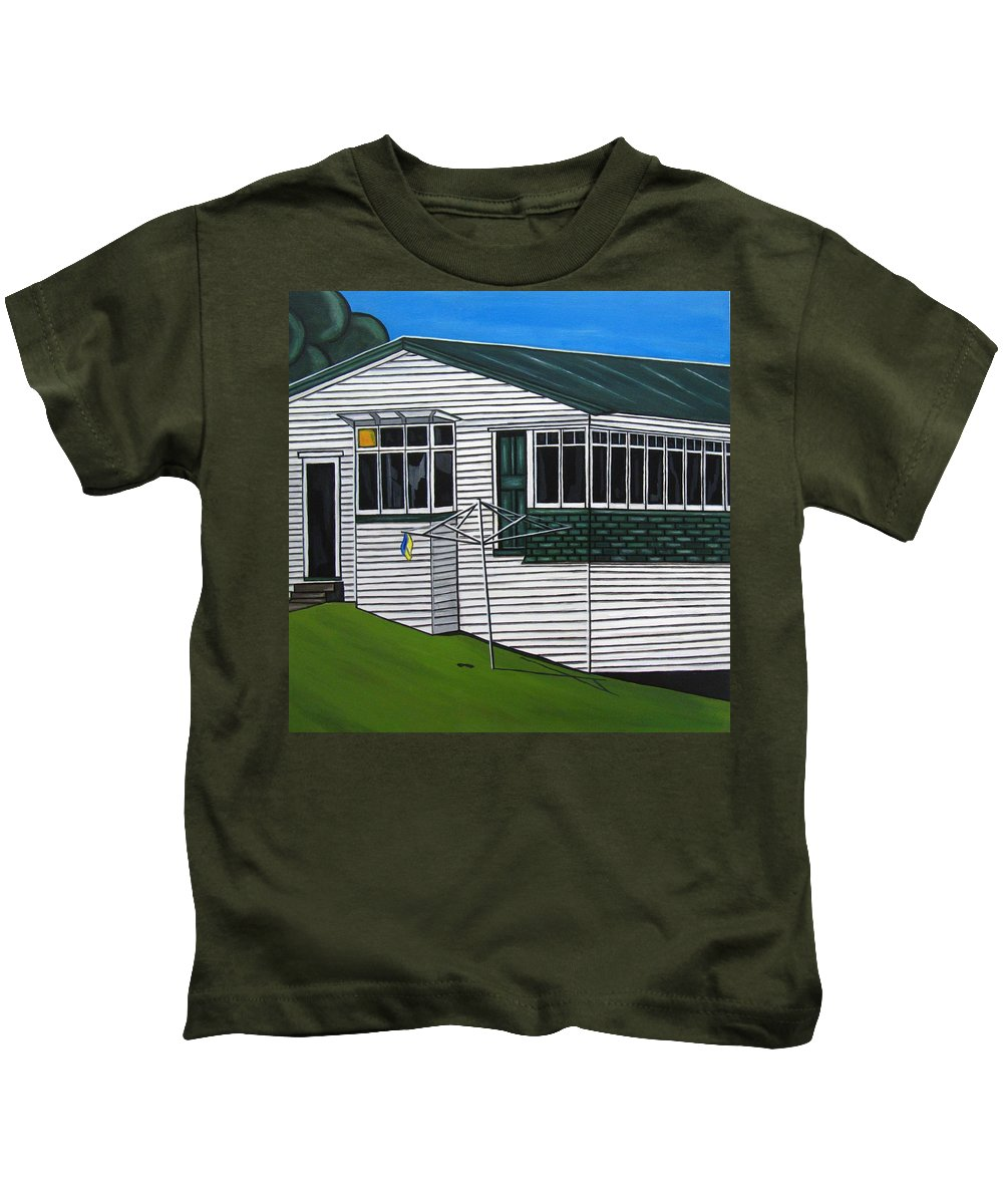 Cottage Paintings Kids T-Shirt featuring the painting The Yates Place by Sandra Marie Adams