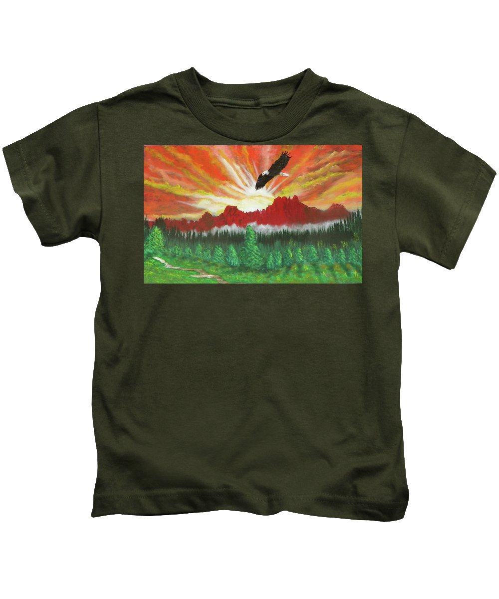 Acrylic Kids T-Shirt featuring the painting They That Wait Upon The Lord  Isa 40 31 by Laurie Kidd