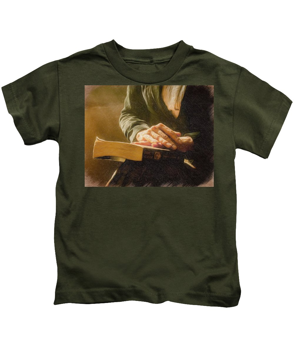 Book Kids T-Shirt featuring the painting Thinking - Id 16217-152033-4576 by S Lurk