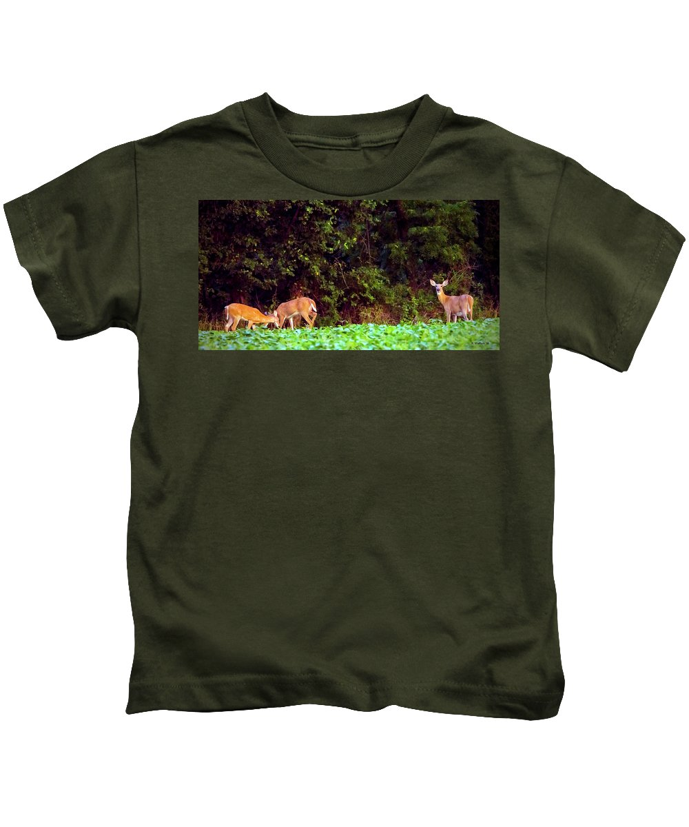 2d Kids T-Shirt featuring the photograph Three Doe by Brian Wallace