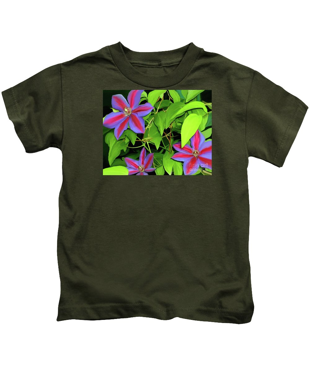Mixed Media Art Kids T-Shirt featuring the painting Three Jacks by Patricia Griffin Brett