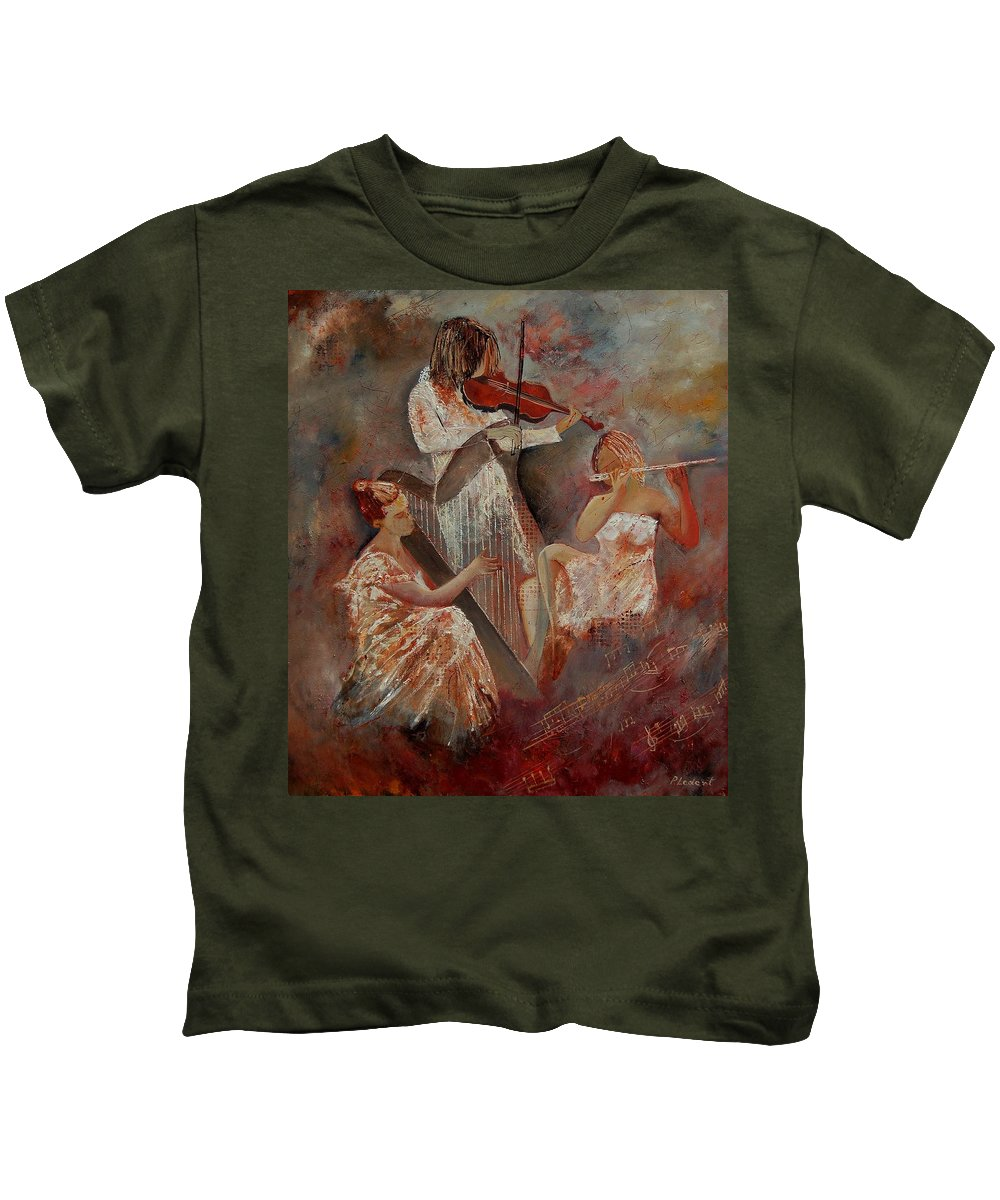 Music Kids T-Shirt featuring the painting Three Musicians by Pol Ledent
