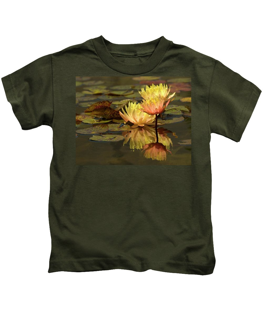 Water Lilies Kids T-Shirt featuring the photograph Three Perfect Lilies by Mary-Ella Bowles