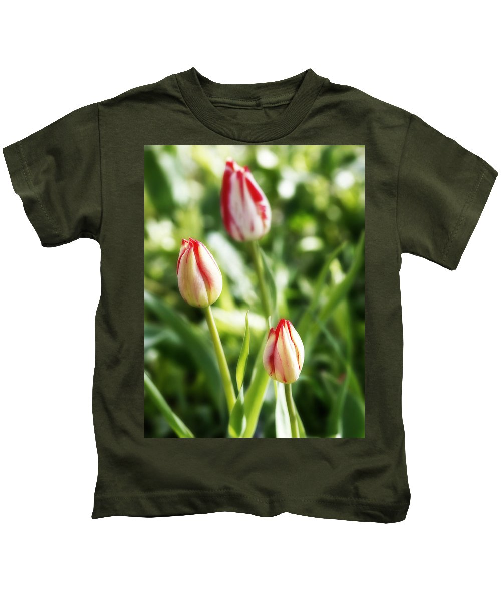 Flower Kids T-Shirt featuring the photograph Three Striped Tulips by Marilyn Hunt