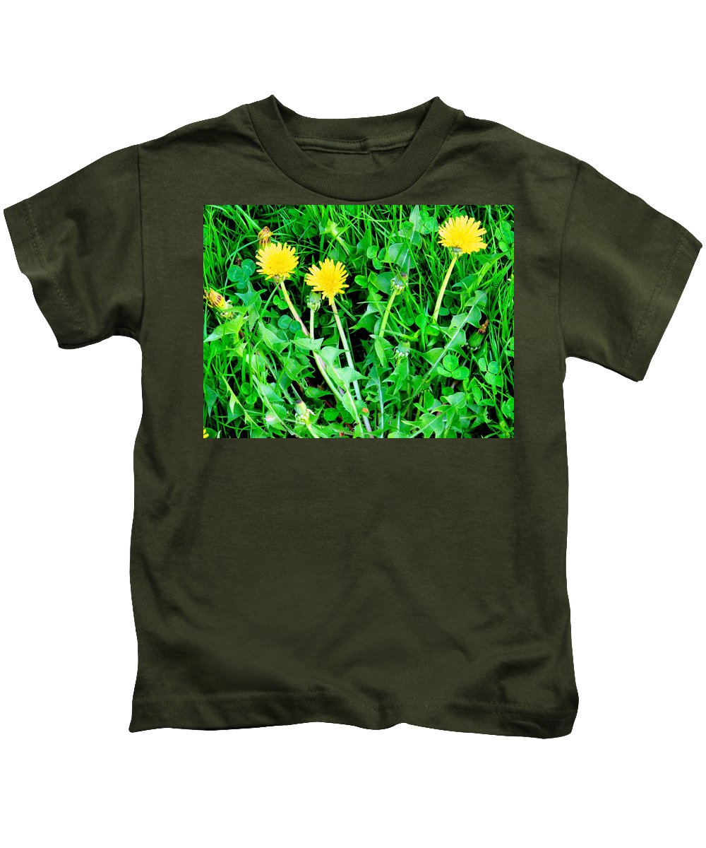 Dandylions Kids T-Shirt featuring the photograph Three Tenders by Ian MacDonald