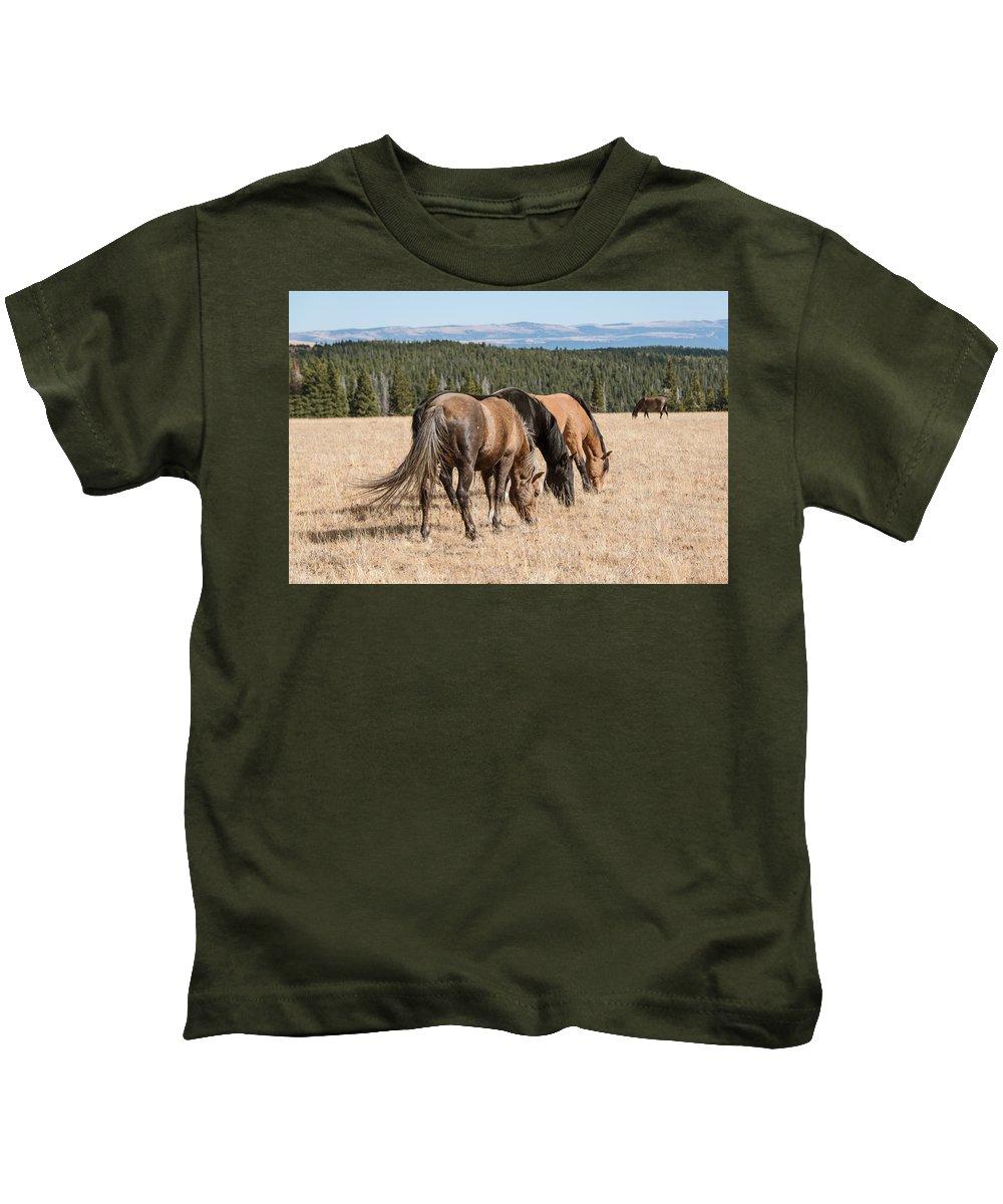 2015 Kids T-Shirt featuring the photograph Three Wild Mustangs by Roberta Peake
