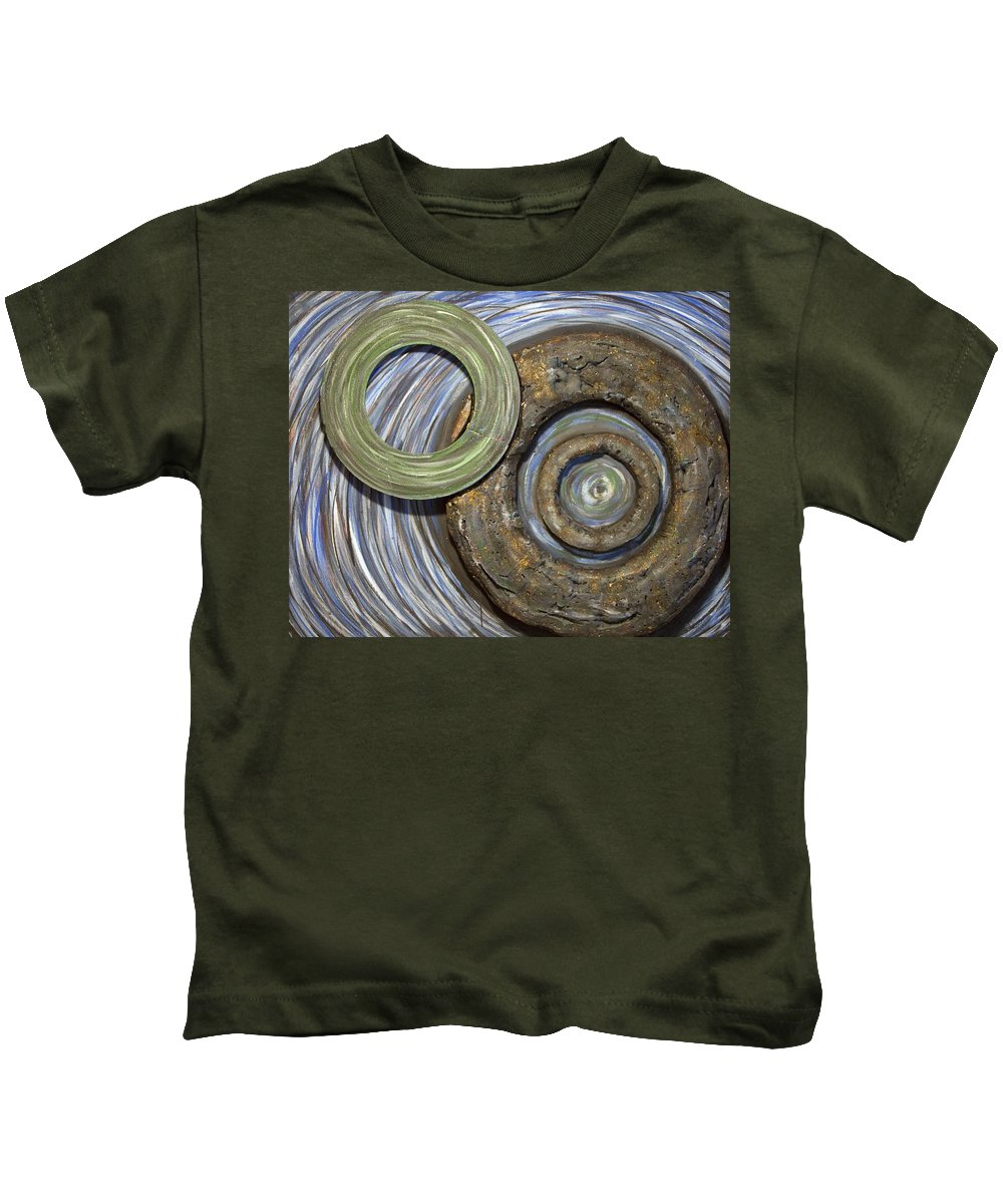Circles Kids T-Shirt featuring the painting Threes A Crowd by Jacqueline Athmann