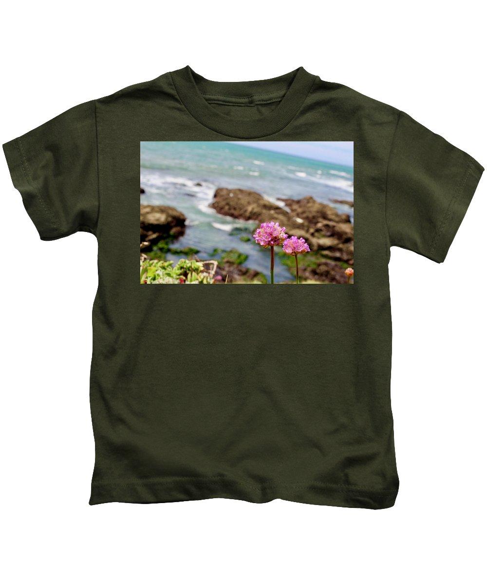 Sea Thrift Kids T-Shirt featuring the photograph Thrift Cliff by Erin Finnegan