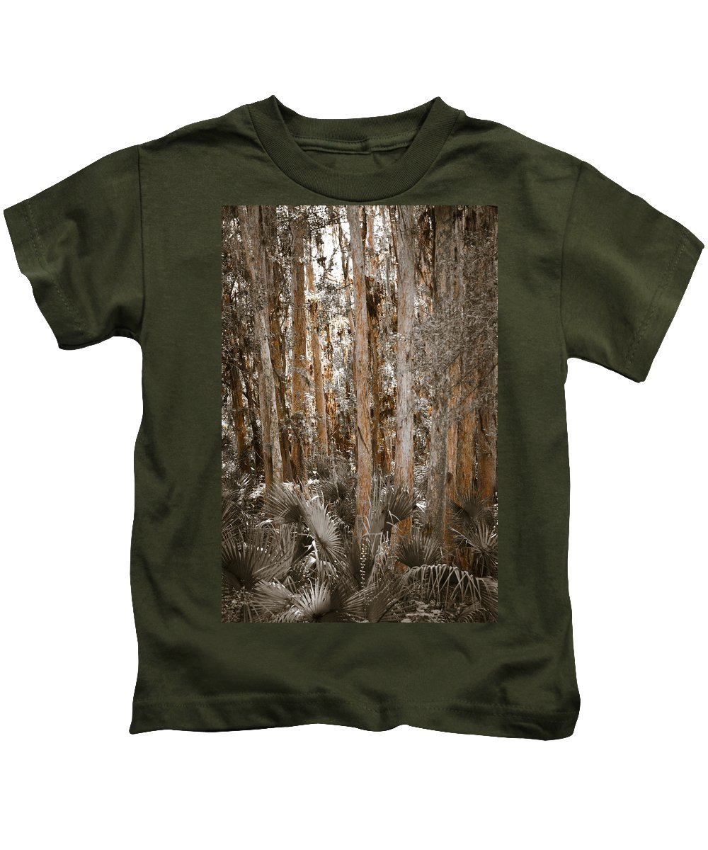 Treescape Kids T-Shirt featuring the photograph Through The Forest Trees by Carolyn Marshall