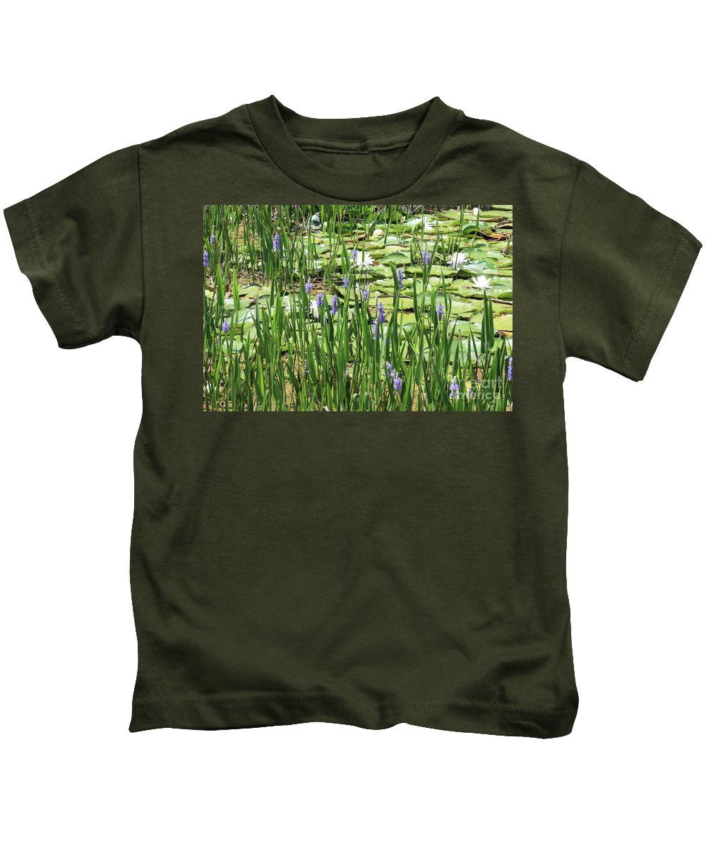 Lily Pond Kids T-Shirt featuring the photograph Through The Lily Pond by Carol Groenen