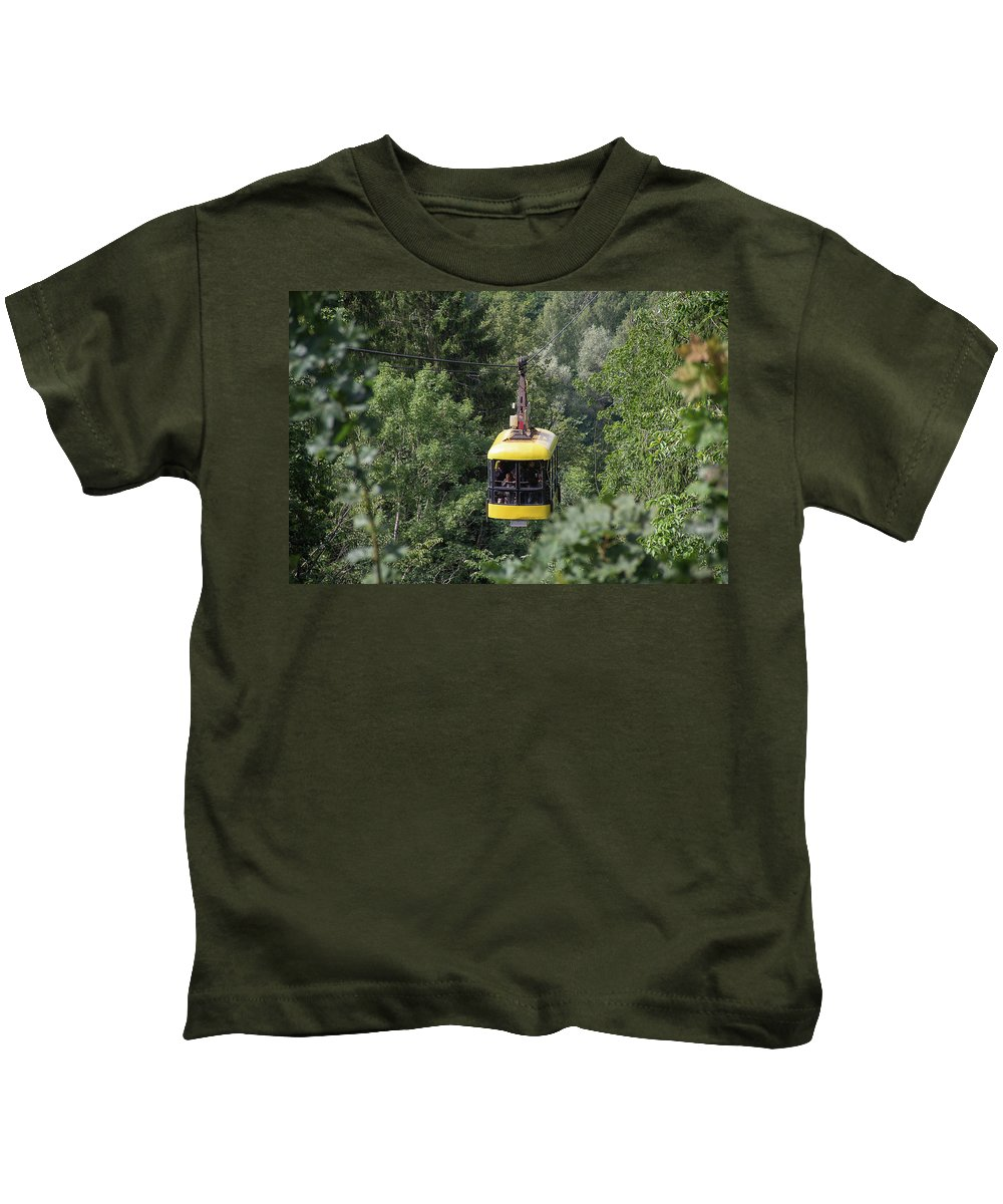 Europe Kids T-Shirt featuring the photograph Through The Treetops by Peteris Vaivars